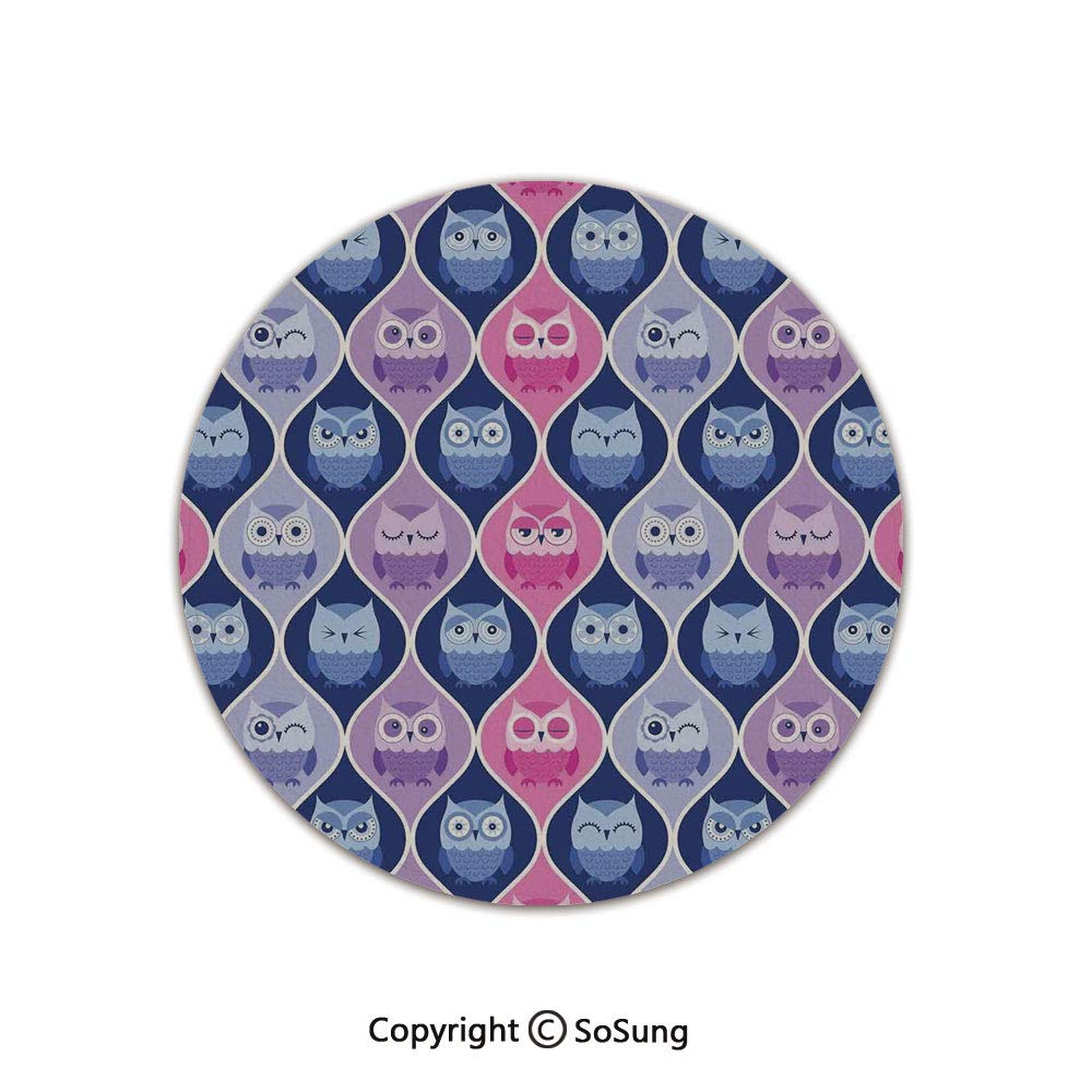 Owls Home Decor Round Area Rug,Tired Eyes Closed Sleeping Owls Silent Flight Kids Vertical Design Illustration,for Living Room Bedroom Dining Room,Round 5'x 5',Pink Purple Blue by SoSung