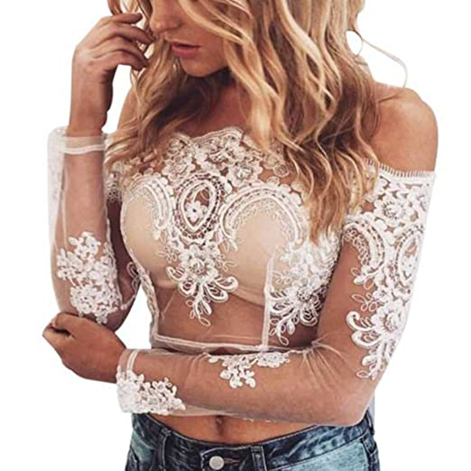 eb6eaa31cd8 Women's Sexy Off Shoulder Hollow Out Lace Crop Shirt Blouse Tops (US 2-4