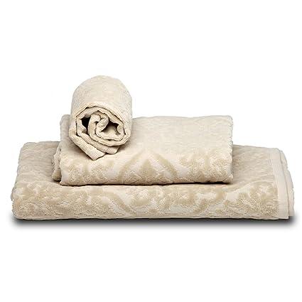 Burrito Blanco - Juego de toallas 101 Beige de 30x50, 50x100 y 70x140 cm