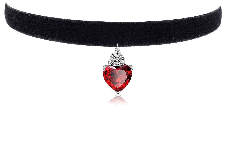 Women's Black Velvet Choker Faux Garnet Pendant Necklace