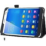 Huawei MediaPad X1 7.0 ケース カバー [Fitwhiny] イヤホンジャックキャップ付 手帳型 PU レザーケース レザーカバー ファーウェイ おしゃれ スタンド機能付き (ブラック) 111-1