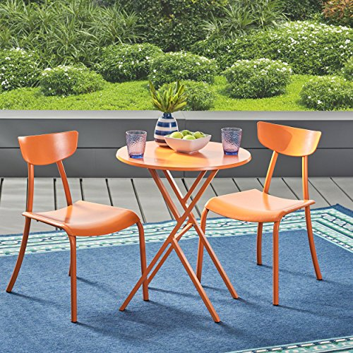 Great Deal Furniture Lucy Outdoor Bistro Set, Matte Orange by Great Deal Furniture