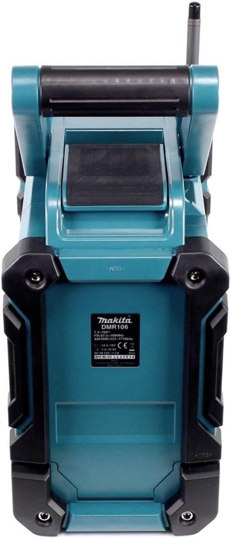 Makita Radio DMR 106 7,2-18 V Radio de chantier sans fil avec Bluetooth 1x Batterie 5,0 Ah Chargeur