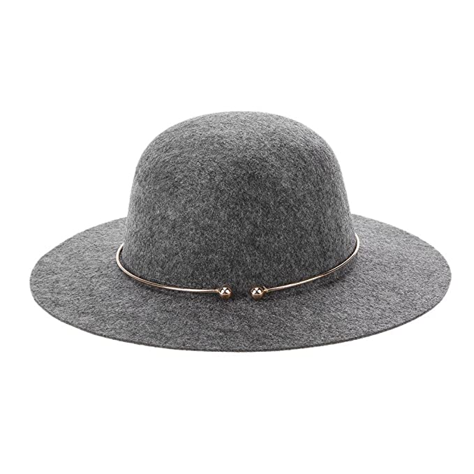 2aca304e09f amazingdeal Women s Fedora Hat With Metal Ring Wide Brim Jazz Cap Top Hat(Light  Grey