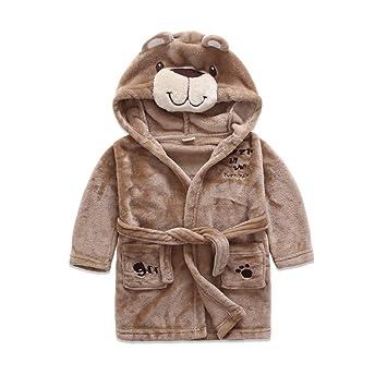OOFAY Pijamas para Niños Y Niñas Albornoces De Estilo Animal De Dibujos Animados De Franela Batas De Bebé,Brown,130Cm: Amazon.es: Hogar