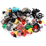 Wheels, Tires, and Axles Set - Building Bricks Block Compatible Major Brands - Steering Wheels, Windshields and Colorful…