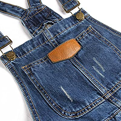 AvaCostume Womens' Adjustable Strap Ripped Denim Overalls: Clothing