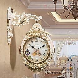 Lefuyan AB-sides Wall Clock, Silent Creative Large Wall Clock Decorative Living Room Modern, European Universal Quartz Clock (Color : A, Size : 20INCN (50CM))