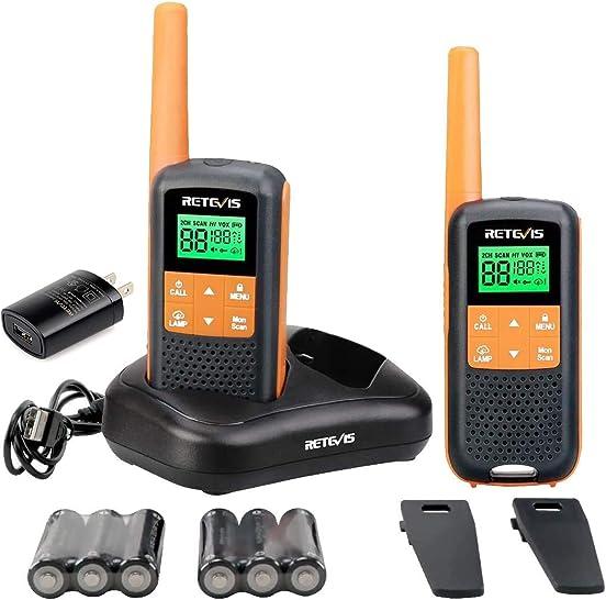 Retevis RT49 Walkie Talkie Rechargeable Long Range,Waterproof Two Way Radio Adult,NOAA Alert AA VOX Flashlight,for Outdoor Hike Hunting Travel 2 Pack