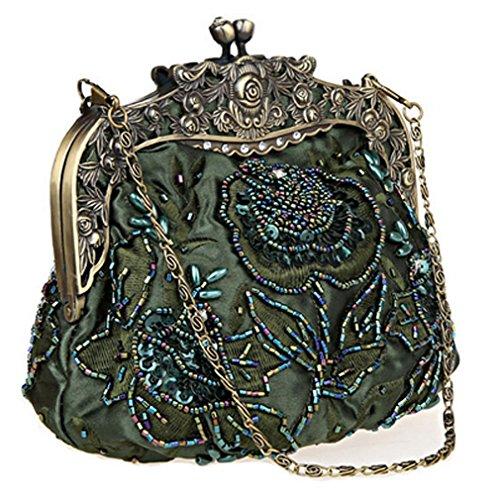 Vintage Flower Tea Belsen Evening Handbags Sequin Women's Beaded Green 4w6BvR