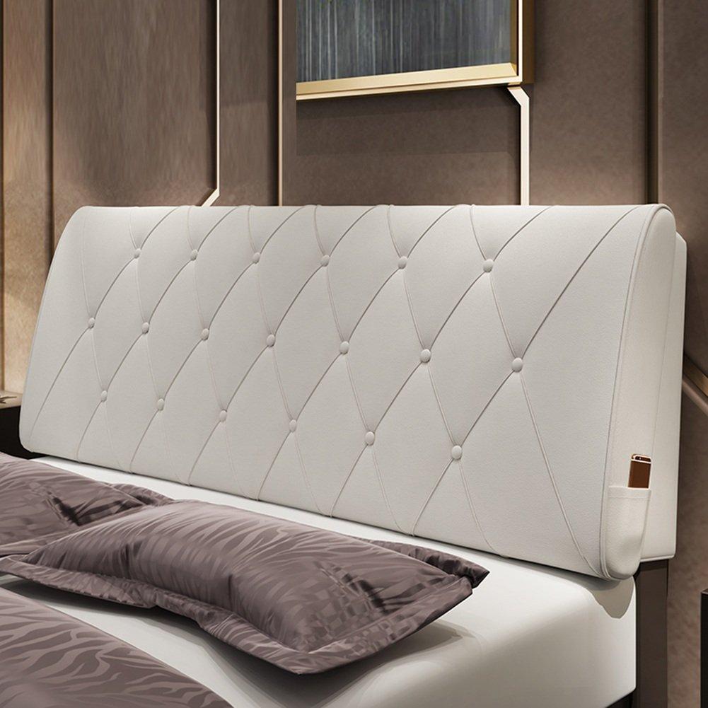 QIANGDA クッション ベッドの背もたれ バッククッション ヘッドボード付き PUバッククッション スポンジを充填する シングル/ダブル ベッドルーム 9ソリッドカラー、 5サイズ 利用可能 ( 色 : 白 , サイズ さいず : 180 x 10 x 60cm ) B07B2J1LZL 180 x 10 x 60cm 白 白 180 x 10 x 60cm