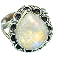 Rainbow Moonstone Ring Size 9 (925 Sterling Silver) - Handmade Boho Vintage Jewelry RING936938