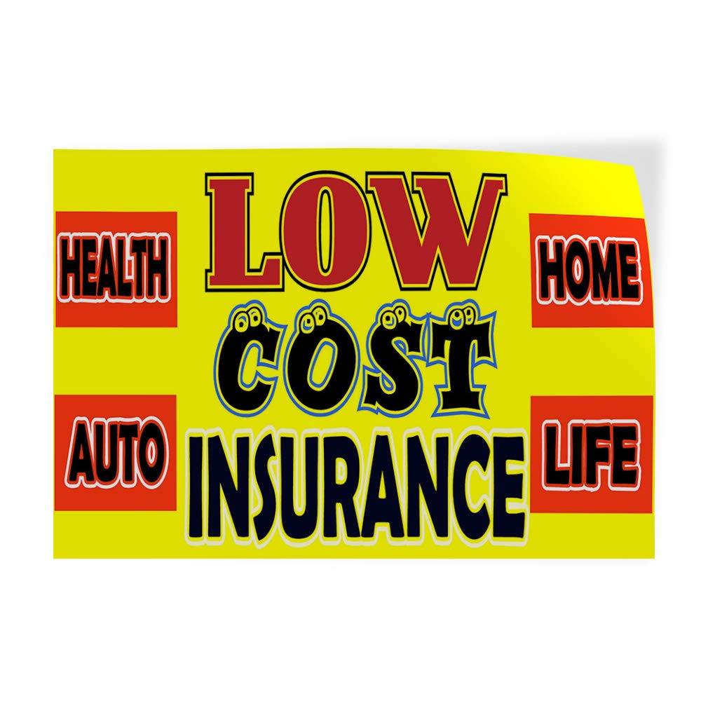 27inx18in Set of 5 Decal Sticker Multiple Sizes Low Cost Insurance Yellow Red Business Insurance Outdoor Store Sign Yellow