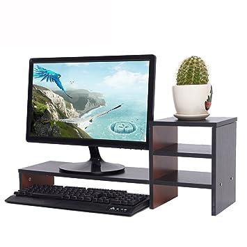 YUMU Bildschirmständer Holz, Monitorständer, Bildschirmerhöhung, Computer  Tisch, Laptop Tisch, Schreibtischaufsatz,