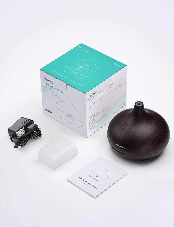 Difusor Aromaterapia de 7-Color LED Homasy 500ml Difusor de Aceites Esenciales Funci/ón de Apagado Autom/ático,Humidificador Ultras/ónico Cool Mist sin BPA para dormitorio Hogar Amarillo