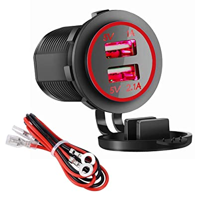 Dual USB Charger Socket Power Outlet - 1A & 2.1A for Car Boat Marine Mobile with Wire Fuse DIY Kit (3.1A-Red): Home Audio & Theater