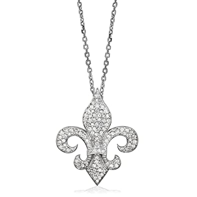 8415c1ff990af Amazon.com: Large Diamond Fleur De Lis Pendant and Chain in 18K ...