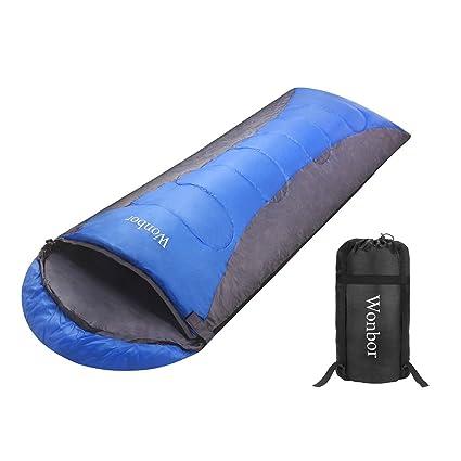 Wonbor Portable Saco de Dormir Ultraligero Sleeping Bag Impermeable de Poliéster 190T con Compresión Saco para
