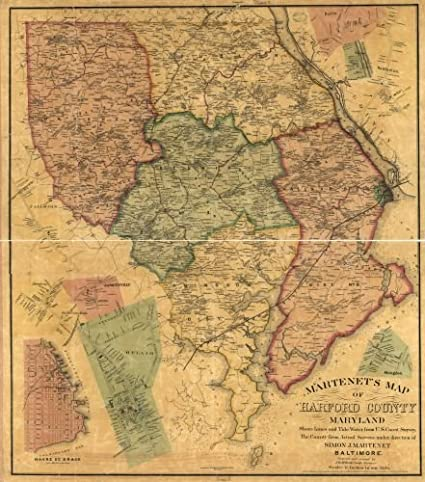 Amazoncom 1878 Map Martenets Map Of Harford County Maryland - Us-map-with-lines