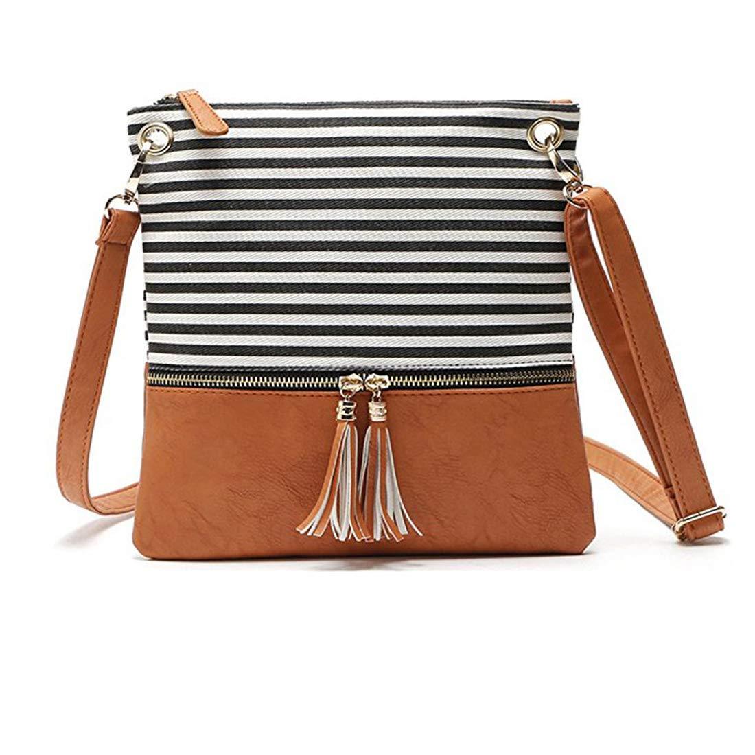 Crossbody Shoulder Bag,Messenger Bag Handbag with Double Zipper for Women Lady Girls by Ubags (Black Stripe) by Ubags (Image #1)