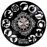 Game of Thrones Stark Khaleesi HBO Movie Characters Vinyl Record Design Wall Clock - Decorate your home with Modern GOT Art - Best gift for him or her, girlfriend/boyfriend - Win a prize for feedback