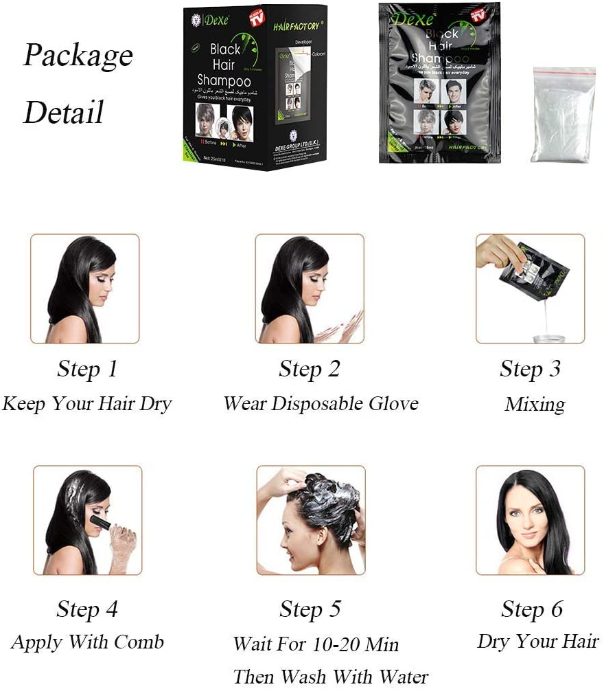 MQUPINMQUPIN Natural Ingredientes instantáneo negro tinte de cabello Champú Semi-permanente Negro Color de cabello 5/10 paquetes, , , negro, (10 Pack ...