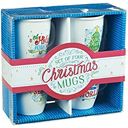 Christmas Mug Set - Season of Joy in Assorted Designs, Set of 4
