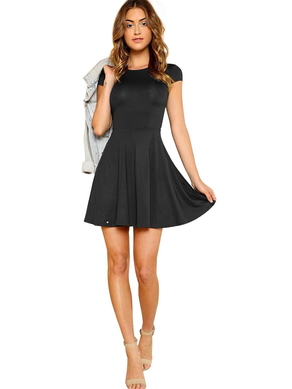 DIDK Damen Vintage Kurzarm Freizeit Kleid mit Hoch Taille Geschwingend Falten Rock Sommerkleider