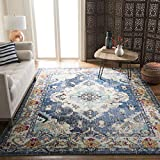Safavieh MNC243N-6 Monaco Area Rug, 6'7' x 9'2', Navy/Light Blue