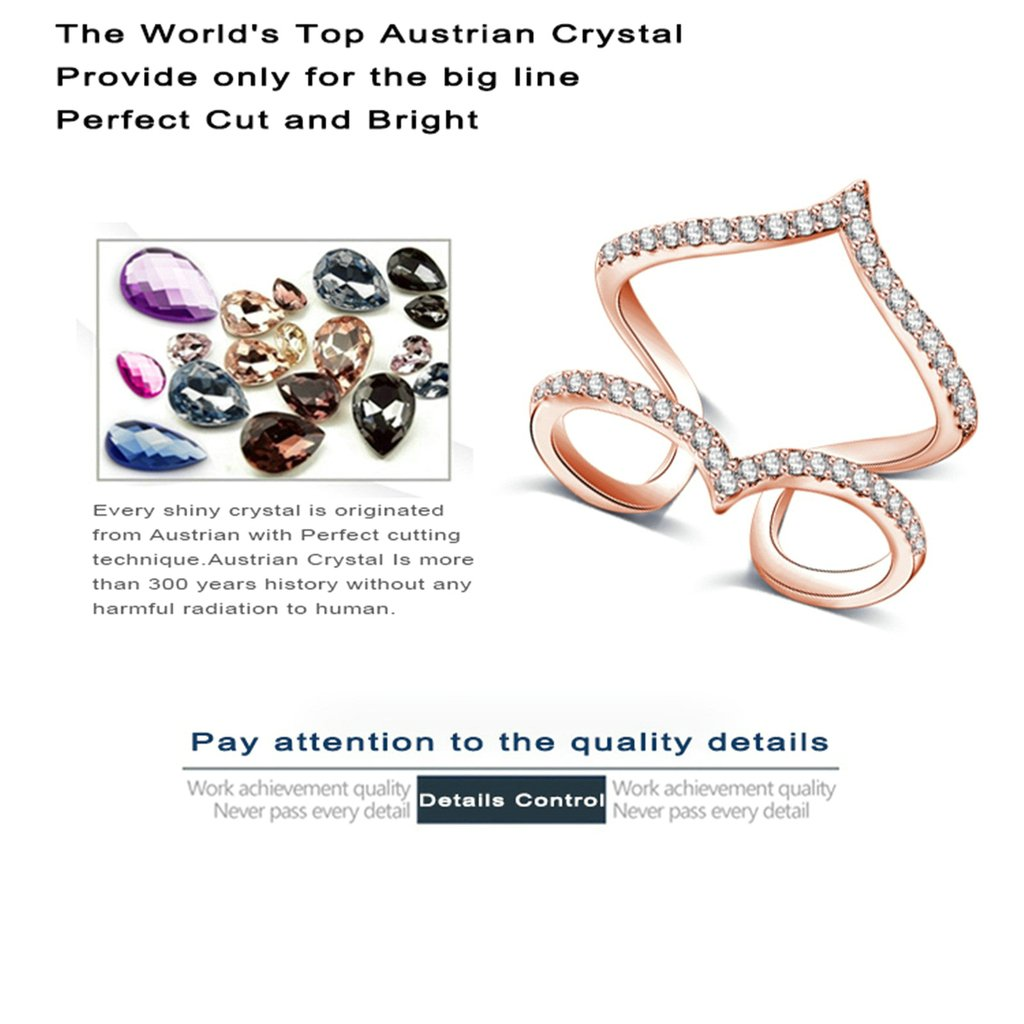 Bishilin Rose Gold Plated Cubic Zirconia Inlaid Engagement Rings And Wedding Bands For Women Size 7