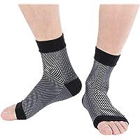 LIOOBO 2 Pares de compresión Calcetines de la Manga del pie Calcetines elásticos Transpirables para la Fascitis Plantar Tobillo Apoyo Dolor en el talón Uso Diario Negro