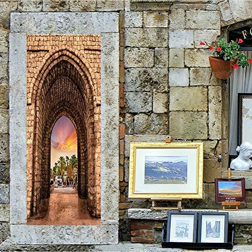 MYLOOO Dormitorio árabe Pegatinas de Puerta Paisaje 3D Decoración ...