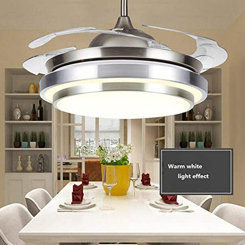 42″ Modern LED Invisible Ceiling Fan Lights and Remote 4 Retractable Brown Blades Chandelier Fan lighting