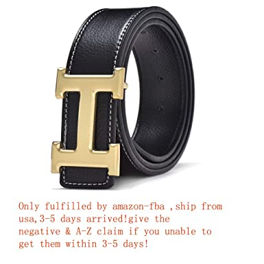 6e7b956e3 Fashion Leather Metal Buckle Unisex Casual Business Belt at Amazon Men's  Clothing store: