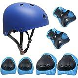 Set di casco, ginocchiere, gomitiere e guanti in gel per bambini, per hoverboard, scooter, BMX e bicicletta (Blu)