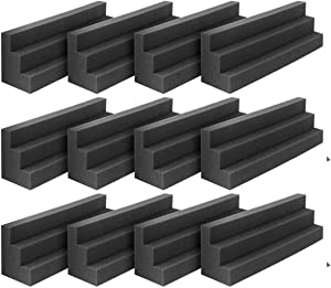 DEKIRU 12 Pack Acoustic Bass Traps Panels, 12 X 3 X 3 Inch Wedge Tiles Corner Wall SoundProofing Studio Foam Padding, Idea for Studio or Home Theater Sound Dampening Treatment (Black)