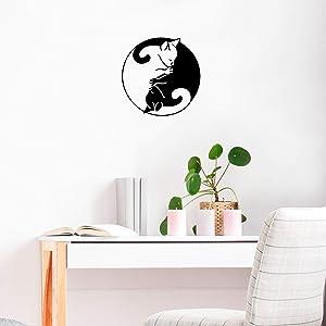 Vinyl Wall Art Decal - Ying Yang Cats - 22
