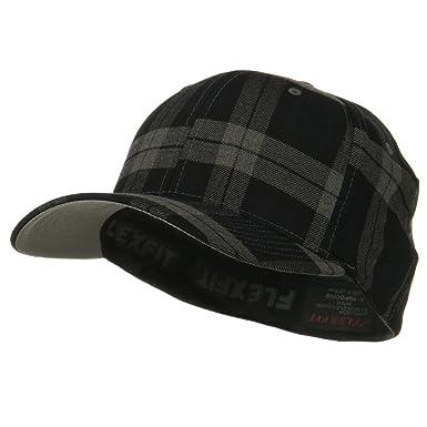 4630e1fa77a Flexifit Tartan Plaid Cap - Black Grey S-M at Amazon Men s Clothing ...