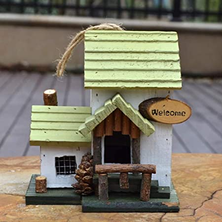 PQXOER Casas para Pájaros Colgante de Madera casa del pájaro for el Garden Cabin única Novedad de pájaro Nidal Decoraciones del jardín Bird Hotel for Las Aves Silvestres Casita para Pájaros: Amazon.es: