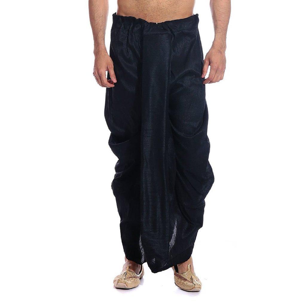Royal Kurta Men's Art Silk Fine Quality Ready To Wear Dhoti Pants Free Size Black