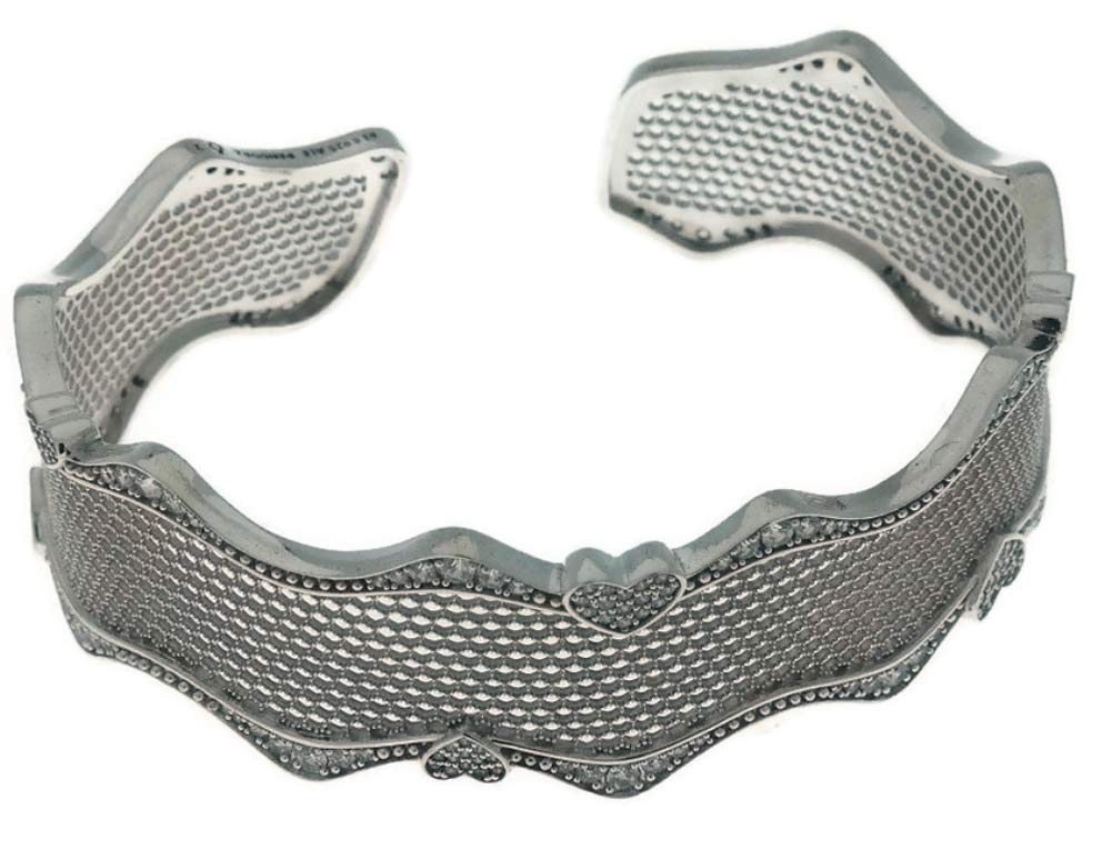 PANDORA Lace of Love Sterling Silver Cuff Bracelet, Size: 16cm, 6.3 inches - 597704CZ-1