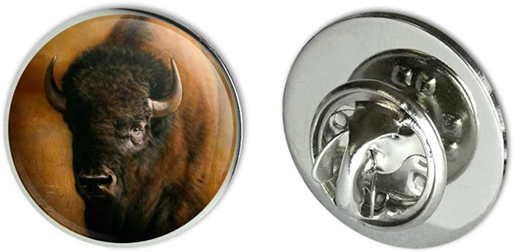 """GRAPHICS & MORE Bison Buffalo on The Praire Field Metal 0.75"""" Lapel Hat Pin Tie Tack Pinback"""