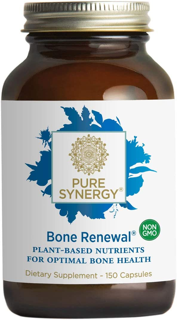Pure Synergy Bone Renewal 150 Capsules Bone Supplement w Plant-Based Calcium, Magnesium, D3, K2, Trace Minerals