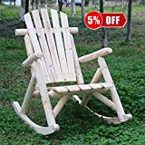 kdgarden Cedar/Fir Log Wood Outdoor Rocking Chair Adirondack Style Wooden Single Rocker Chair for Porch, Patio, Indoor Living Room, 250 LB Weight Capacity, Natural Finish