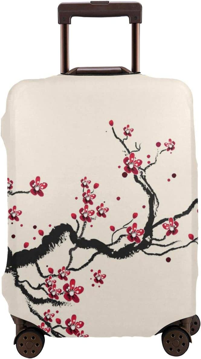 Luggage Cover Plum Tree Blossom Ink Painting Chinese Paint Protective Travel Trunk Case Elastic Luggage Suitcase Protector Cover