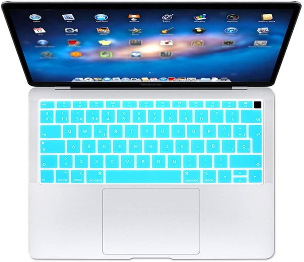 Spanish EU Teclado Keyboard Protector Cover Compatible for MacBook Air 13 13.3 Inch A1932 Touch Fingerprint,Orange