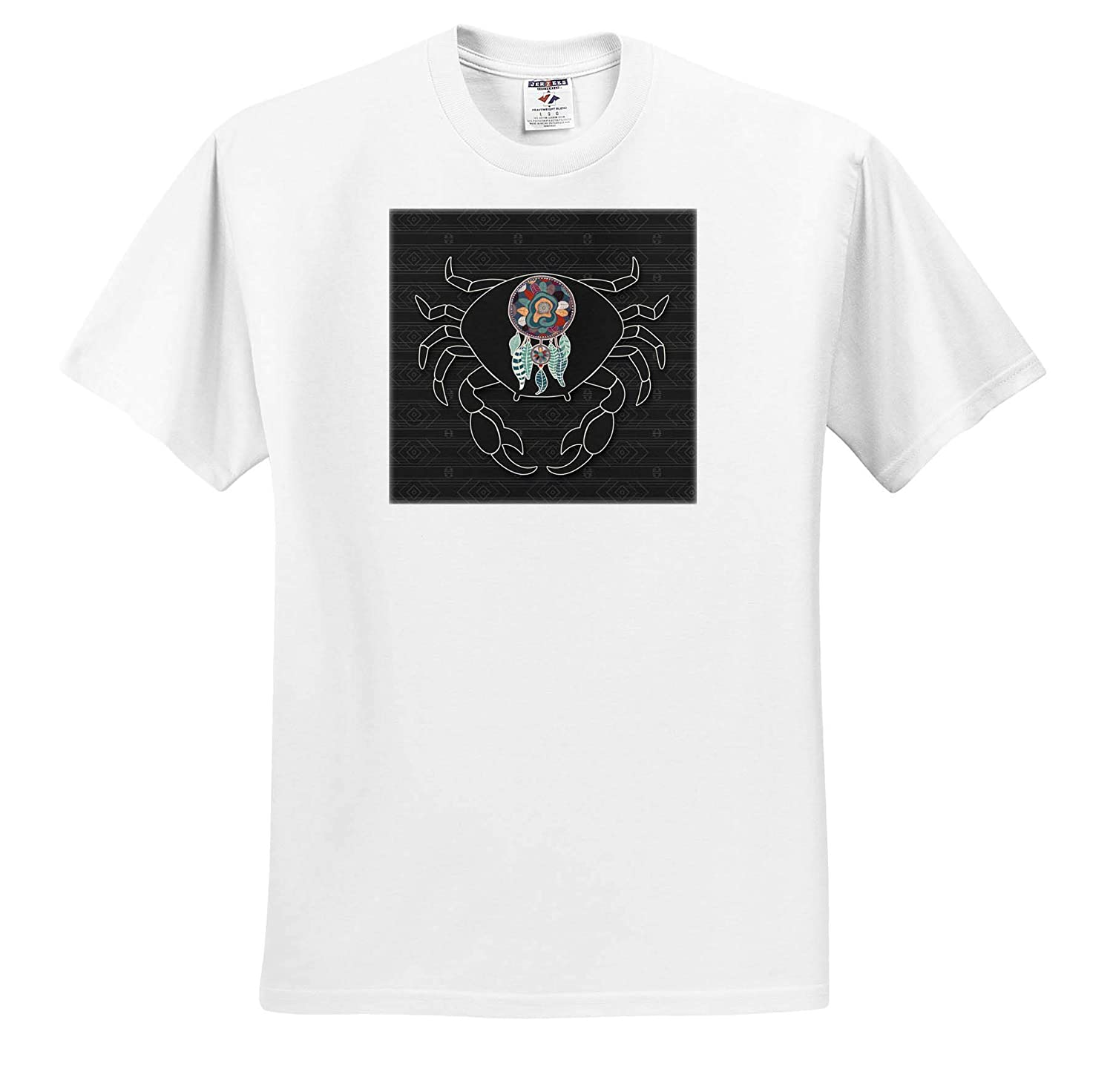 3dRose Doreen Erhardt Native American Trendy Crab Illustration with Native American Tribal Pattern and Theme T-Shirts