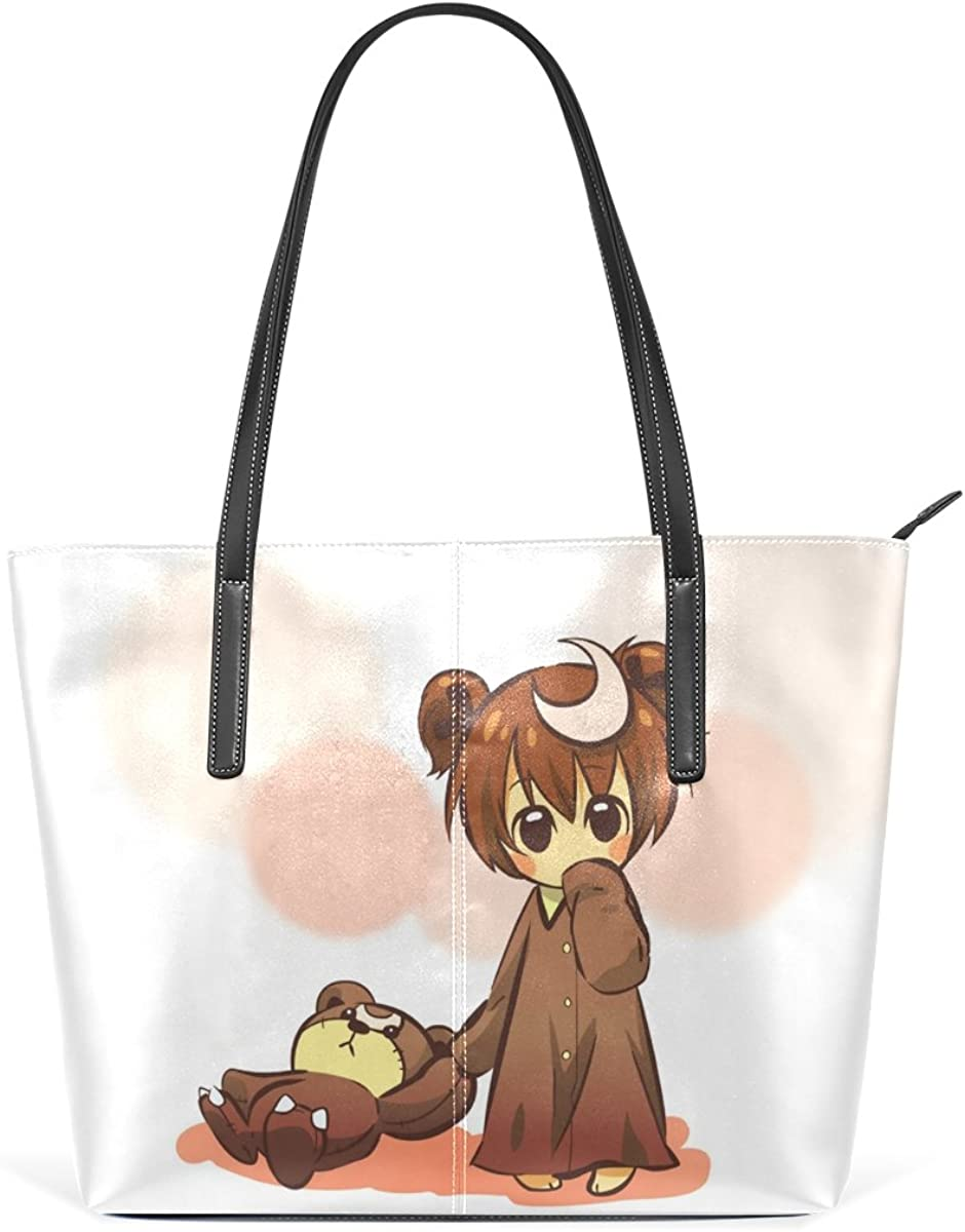 Womens Designer Handbags Tote Bags Shoulder Top-handle Bag Clutch Purse with Cartoon Girl and Cute Toy Bear Pattern
