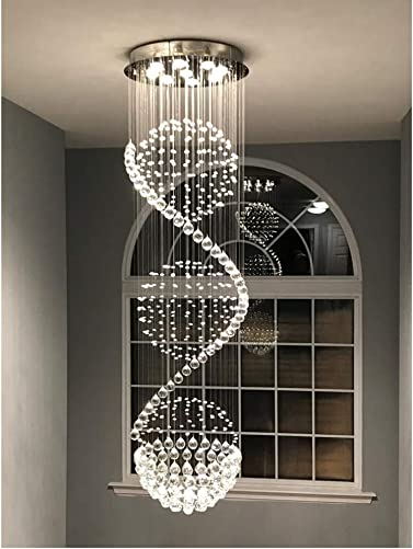 Crystal Chandelier LED Spiral Sphere Rain Drop 3 Ball Flush Mount Modern Ceiling Light Fixture GU10 for Staircase Living Room Hotel Hallway Foyer Entry Way Decoration USA Stock