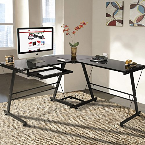 Best Choice Products L-Shape Computer Desk PC Glass Laptop Table Workstation Corner Home Office Black : curved-desks - designwebi.com
